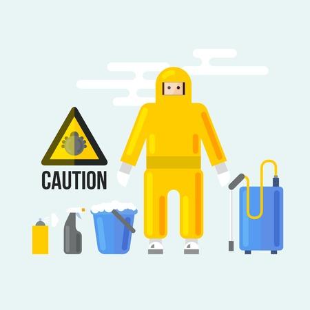 advertencia: Servicios de limpieza química. Precaución signos de atención. Símbolo aerosol fumigación de insectos. Ilustración del vector de la desinfección de Bugs '