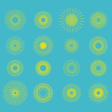 suns: Retro Hand Drawn Sunburst Set. Set of Suns Illustration