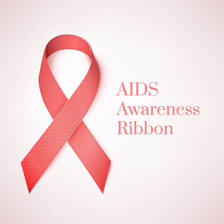 aids awareness: Realistic Red Ribbon with Shadow. AIDS Awareness Sign. Vector Isolated Illustration on White Background.