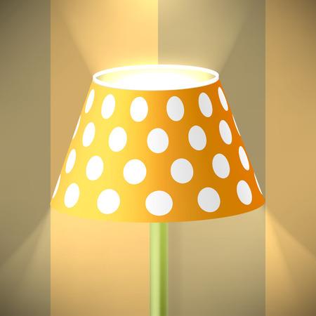 tendencies: Floor Lamp with Light on Wallpaper Background.