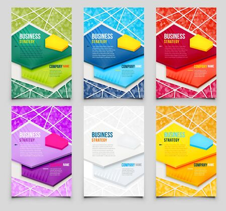 Set of Poster Templates with Triangle Background. Vector Design Template. Vector Illustration