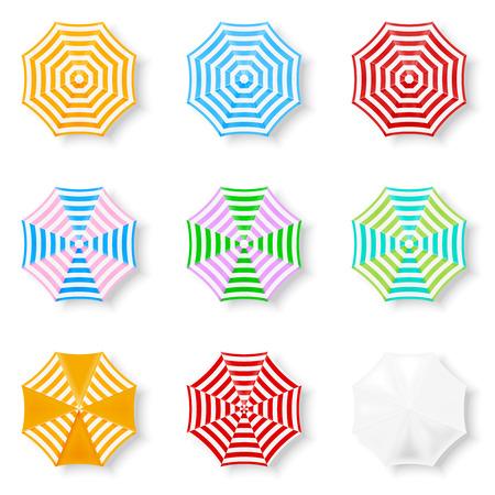 Set di ombrelloni, Top View. Giallo, Blu, Rosso, Bianco, Ombrelli Green Beach Vettoriali