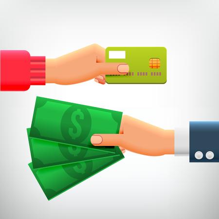 クレジット カードと現金で手と手。お支払い方法、投資、現金のお引き出し、ビジネス、オンライン決済、キャッシュ バックの概念。