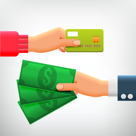 withdrawal: Hand with Credit Card and Hand with Cash. Concepts of Payment methods, Investment, Cash Withdrawal, Business, Online Payment, Cash Back.