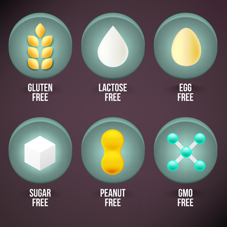 gluten: Set of Food Dietary Labels. Gluten Free, Lactose Free, Egg Free, Sugar Free, Peanut Free, GMO Free.