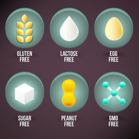 dietary: Set of Food Dietary Labels. Gluten Free, Lactose Free, Egg Free, Sugar Free, Peanut Free, GMO Free.