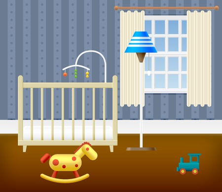 nursery room: Baby Room With Furniture. Nursery Interior. Vector illustration.