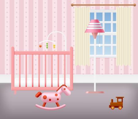 Chambre de bébé pour les filles avec des meubles. Intérieur Nursery. Vector illustration.