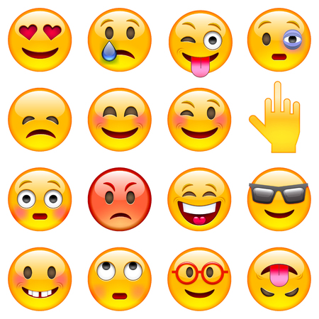 ojos tristes: Conjunto de emoticonos. Conjunto de Emoji. Ilustración vectorial aislados en fondo blanco