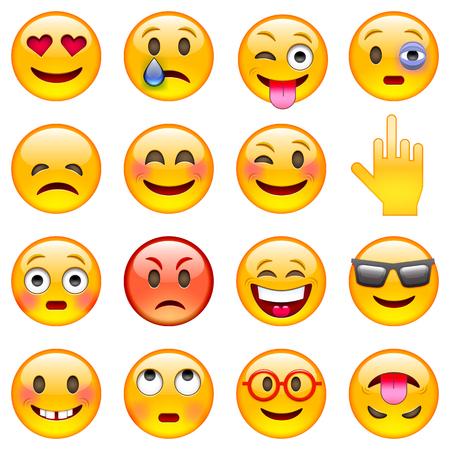Zestaw emotikonów. Zestaw Emoji. Izolowane ilustracji wektorowych na białym tle