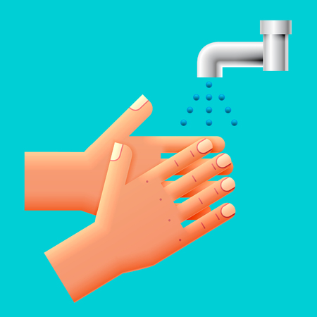 Wash Your Hands Sign, Icon, Illustration.