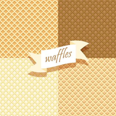 Set of Wafer Patterns. Waffels. Endless texture.