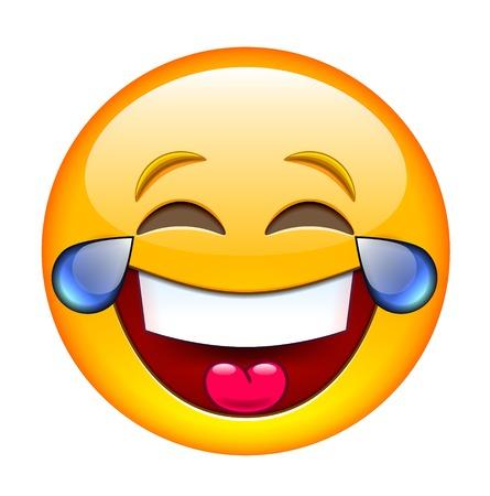 Śmiejąc Emotikon ze łzami. Izolowane ilustracji na białym tle