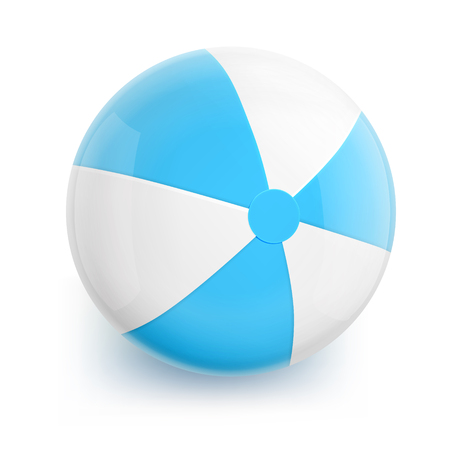 blue ball: Beach Ball with Blue Stripes. Isolated Illustration on White Background. Illustration