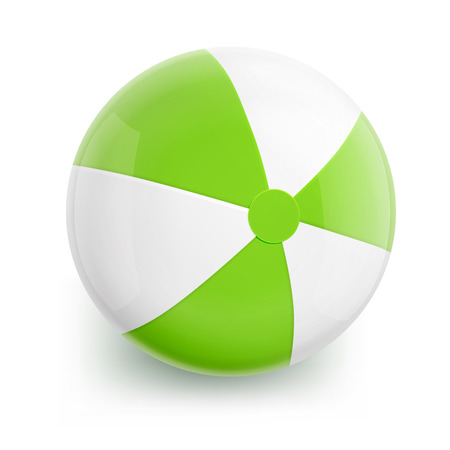 inflatable ball: Beach Ball with Green Stripes. Isolated Illustration on White Background.