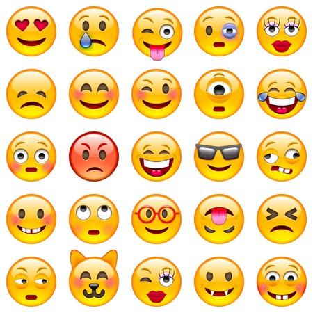 s úsměvem: Sada emotikony. Sada Emoji. Samostatný obrázek na bílém pozadí