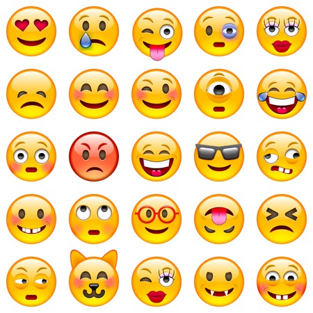facial expression: Set of Emoticons. Set of Emoji. Isolated  illustration on white background