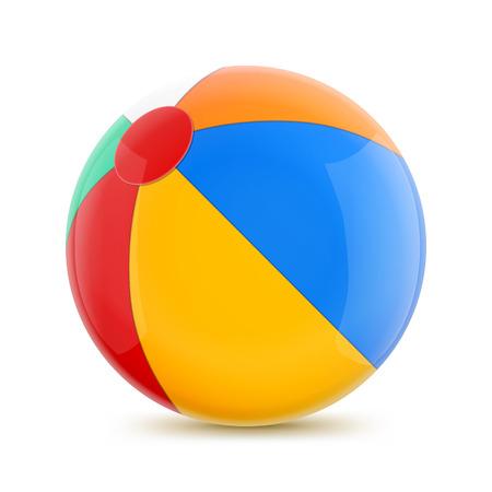 沙滩球。在白色背景的被隔绝的例证。