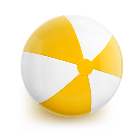 inflatable ball: Beach Ball with Yellow Stripes. Isolated Illustration on White Background. Illustration