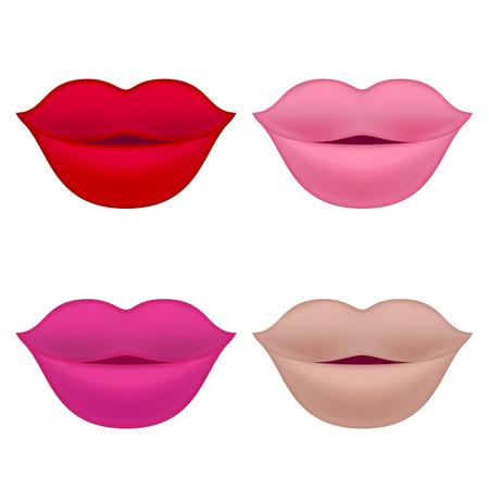 Set of Lips. Isolated Illustration on White Background. Illustration