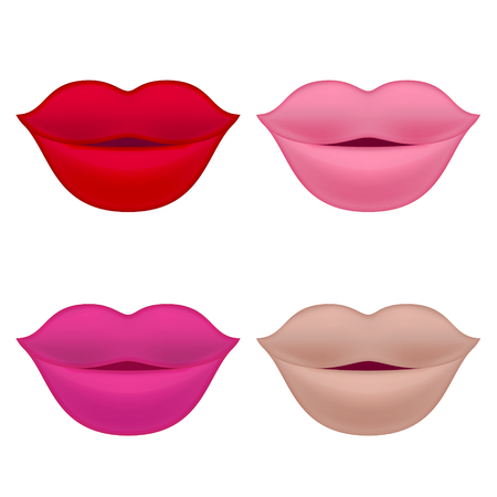 Set of Lips. Isolated Illustration on White Background. Stock Illustratie