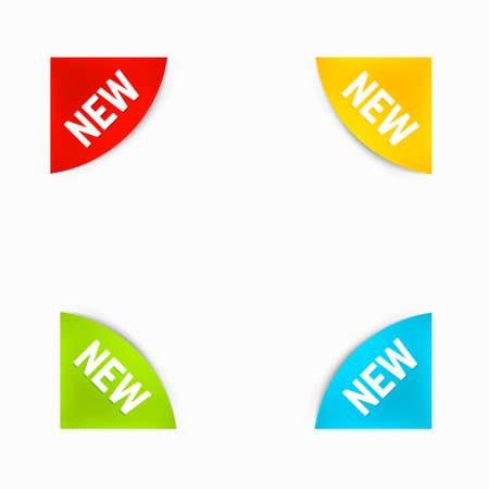 round corner: Set of Round Corner New Labels in Different Colors.