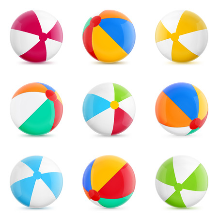 white beach: Beach Balls. Set of Isolated Beach Balls. Isolated Illustration on White Background.