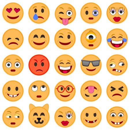 white smile: Set of Emoticons. Set of Emoji. Smile icons. Isolated illustration on white background