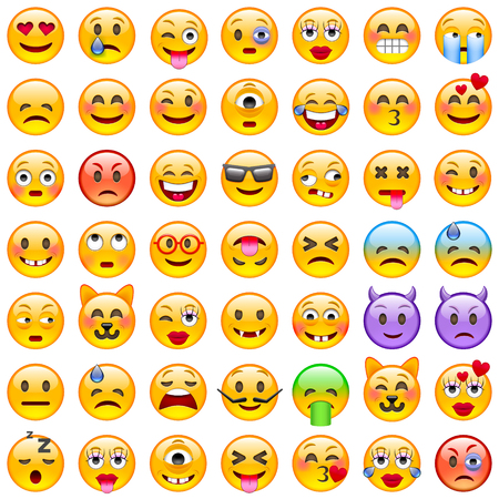 Set of Emoticons. Set of Emoji. Smile icons. Isolated illustration on white background
