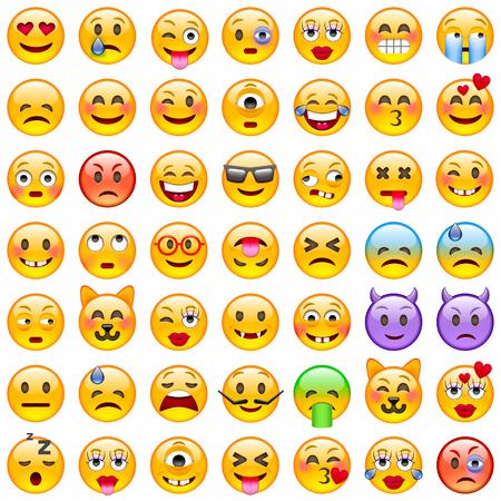 emociones: Conjunto de emoticonos. Conjunto de Emoji. iconos sonrisa. Ilustración aislada en el fondo blanco