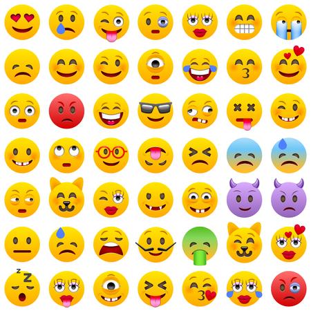 Conjunto de emoticonos. Conjunto de Emoji. iconos sonrisa. Ilustración aislada en el fondo blanco