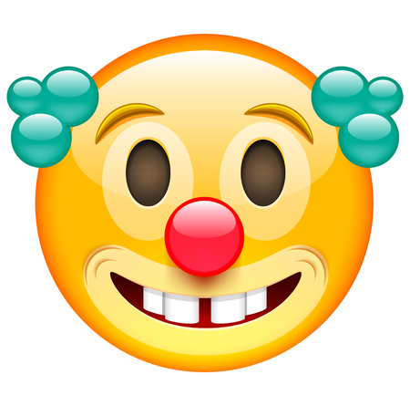 Happy Clown Face with Green Hair. Emoji of Clown. Clown Smile with Red Nose. Emoticon. Isolated vector illustration on white background Illustration