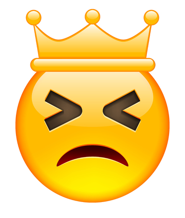beguin: Closed Eyes Unhappy Face with Crown. Closed Eyes Unhappy Emoji with Crown. Closed Eyes Unhappy Smile Emoticon with Crown. Isolated vector illustration on white background Illustration