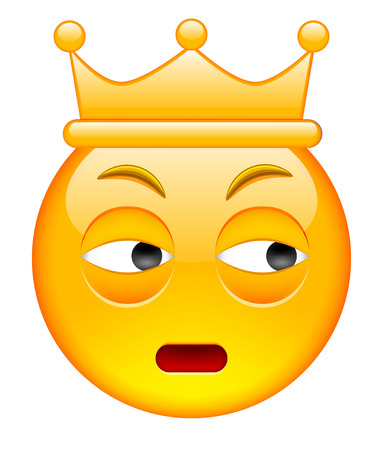 Distrust Face with Crown. Distrust Emoji with Crown. Distrust Smile Emoticon with Crown. Isolated vector illustration on white background