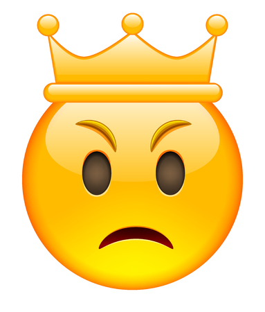 beguin: Angry Face with Crown. Angry Emoji with Crown. Angry Smile Emoticon with Crown. Isolated vector illustration on white background