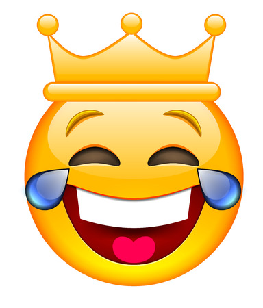 Laughing Face with Crown. Laughing Emoji with Crown. Laughing Smile Emoticon with Crown. Isolated vector illustration on white background Illustration
