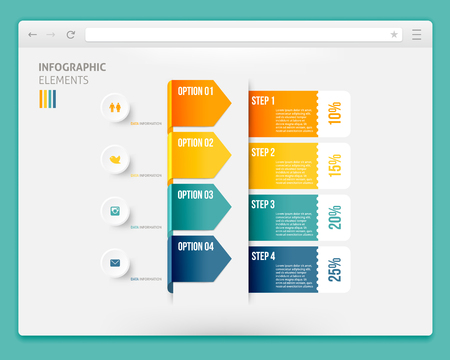 backwards: Abstract Design of Browser with Infographic. Browser with Infographic Ribbons. Browser Template with Infographic Banners. Vector Browser with Icons. Infographic Steps In Browser. Browser with Infographic Arrows.
