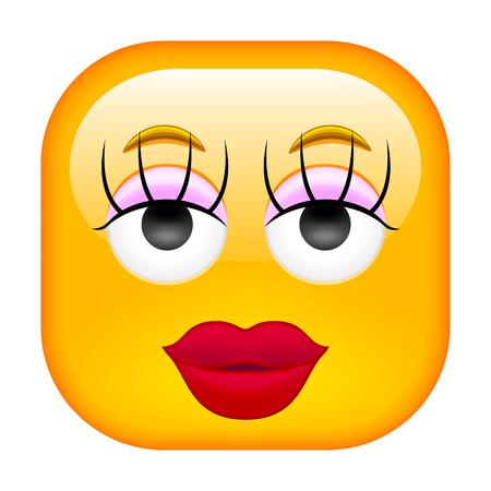 Famale Emoticon. Beauty Emoticon. Illustration