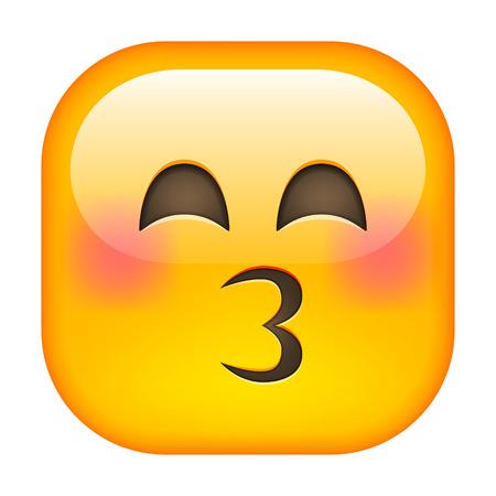 beguin: Kissing Emoticon. Kissing Square Smile. Isolated vector illustration on white background Illustration