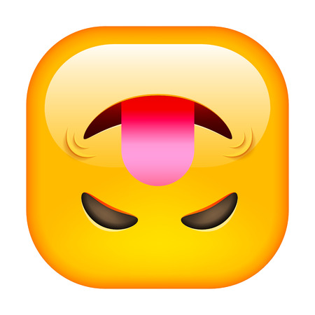 Funny Emoticon with Tongue. Square Rotated Smile.