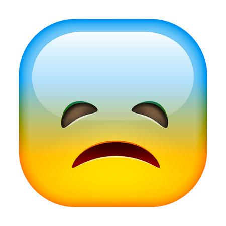 lugubrious: Sad emoticon. Unhappy smile. Square Emoji. Illustration