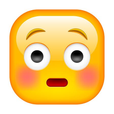 Emoticon vergüenza con sonrojadas mejillas rojas. Preocupado Icono cuadrado.