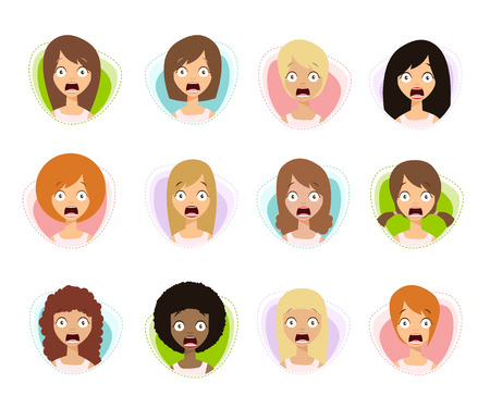 amorousness: Scared Woman Faces. Scared Face Icons. Scared Women. Flat Style Vector Illustration.