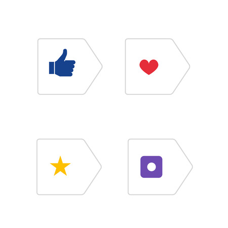 blue buttons: Social Icons in Arrows. Blue Thumb up. Red Heart. Yellow Star. Violet Camera. Set of Buttons with Icons