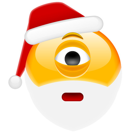flushed: Worried Cyclop Santa Smile Emoticon for Christmas and New Year. Isolated vector illustration on white background
