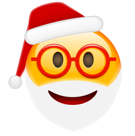 amorousness: Santa Smile in Glasses Emoticon for Christmas and New Year. Isolated vector illustration on white background Illustration