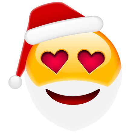 beguin: Santa Smile in Love Emoticon for Christmas and New Year. Isolated vector illustration on white background Illustration