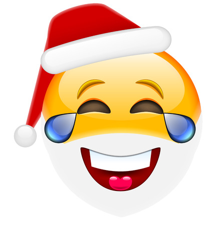 amorousness: Laughing Santa Smile with Tears Emoticon for Christmas and New Year. Isolated vector illustration on white background