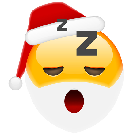 Sleepy Santa Smile Emoticon for Christmas and New Year. Isolated vector illustration on white background
