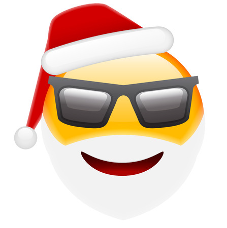 white smile: Santa Smile in Sunglasses Emoticon for Christmas and New Year. Isolated vector illustration on white background Illustration